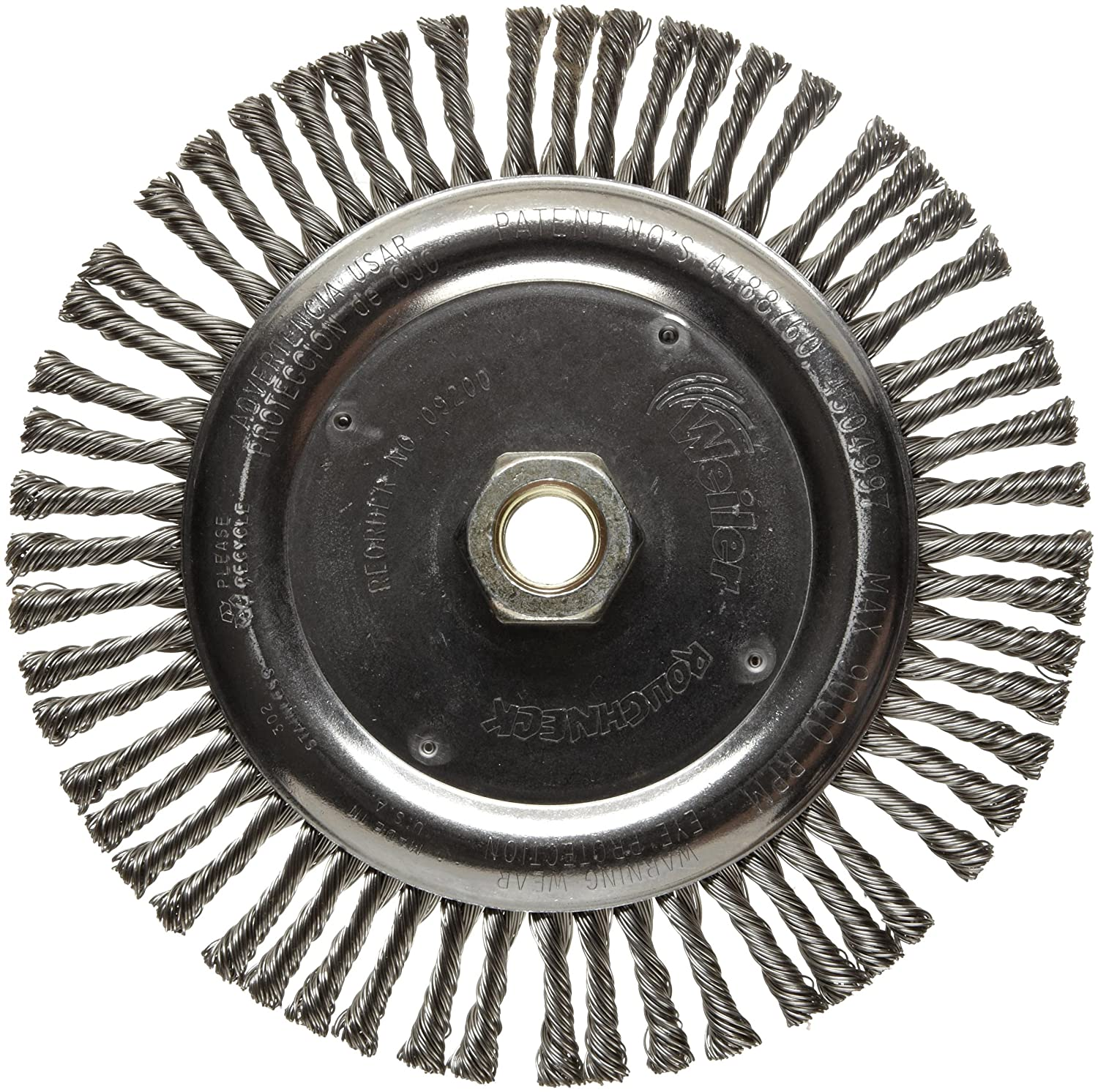 Weiler Dualife Narrow Face Wire Wheel Brush, Threaded Hole, Stainless Steel 302, Stringer Knotted, 6-7/8' Diameter, 0.020' Wire Diameter, 5/8-11' Arbor, 1-1/8' Bristle Length, 3/16' Brush Face Width, 9000 rpm 6-7/8 Diameter 0.020 Wire Diameter 09200