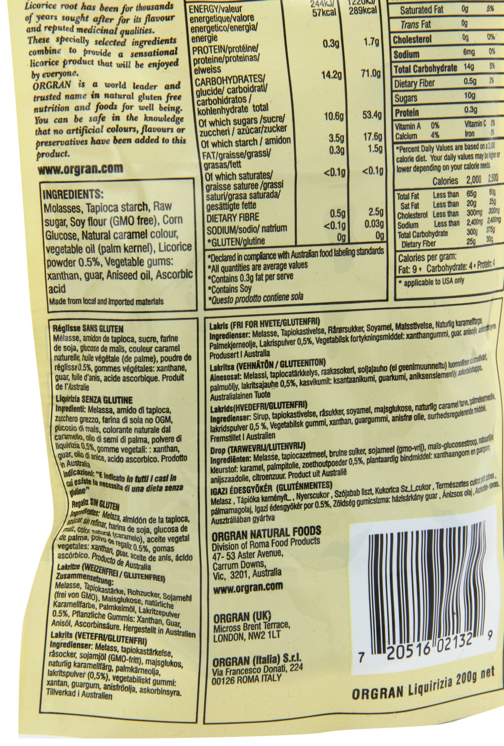 OrgraN Gluten-Free Molasses Licorice, 7-Ounce Package (Pack of 4) by Orgran