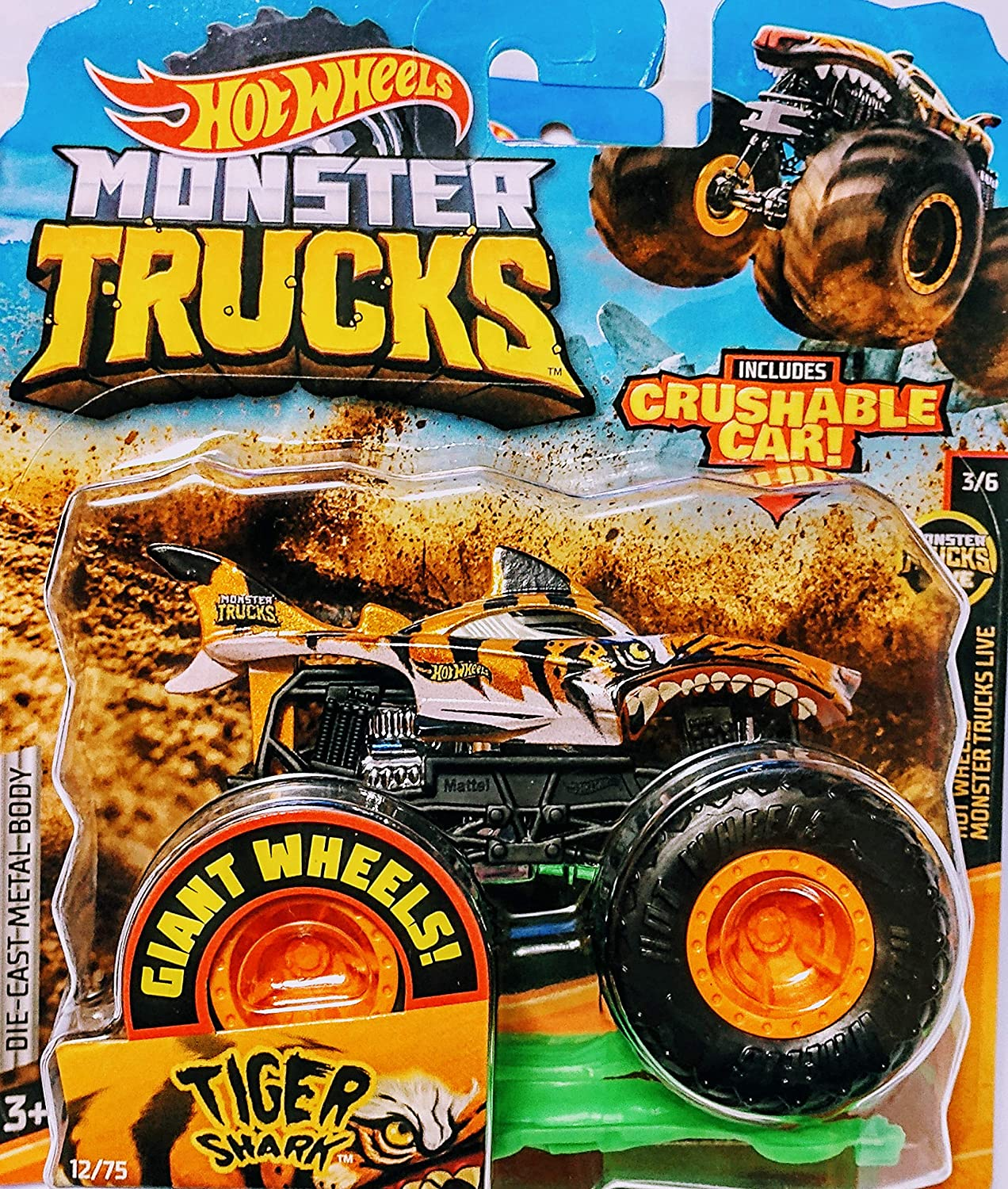 Amazon Com Hot Wheels Monster Jam Tiger Shark Includes Crushable Car 12 75 Monster Trucks Live 3 6 Toys Games