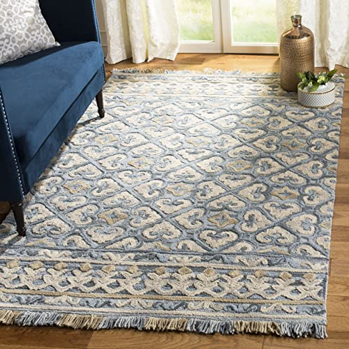 Safavieh Blossom Collection Floral Vines Premium Wool Area Rug, 4 x 6 , Light Beige Blue