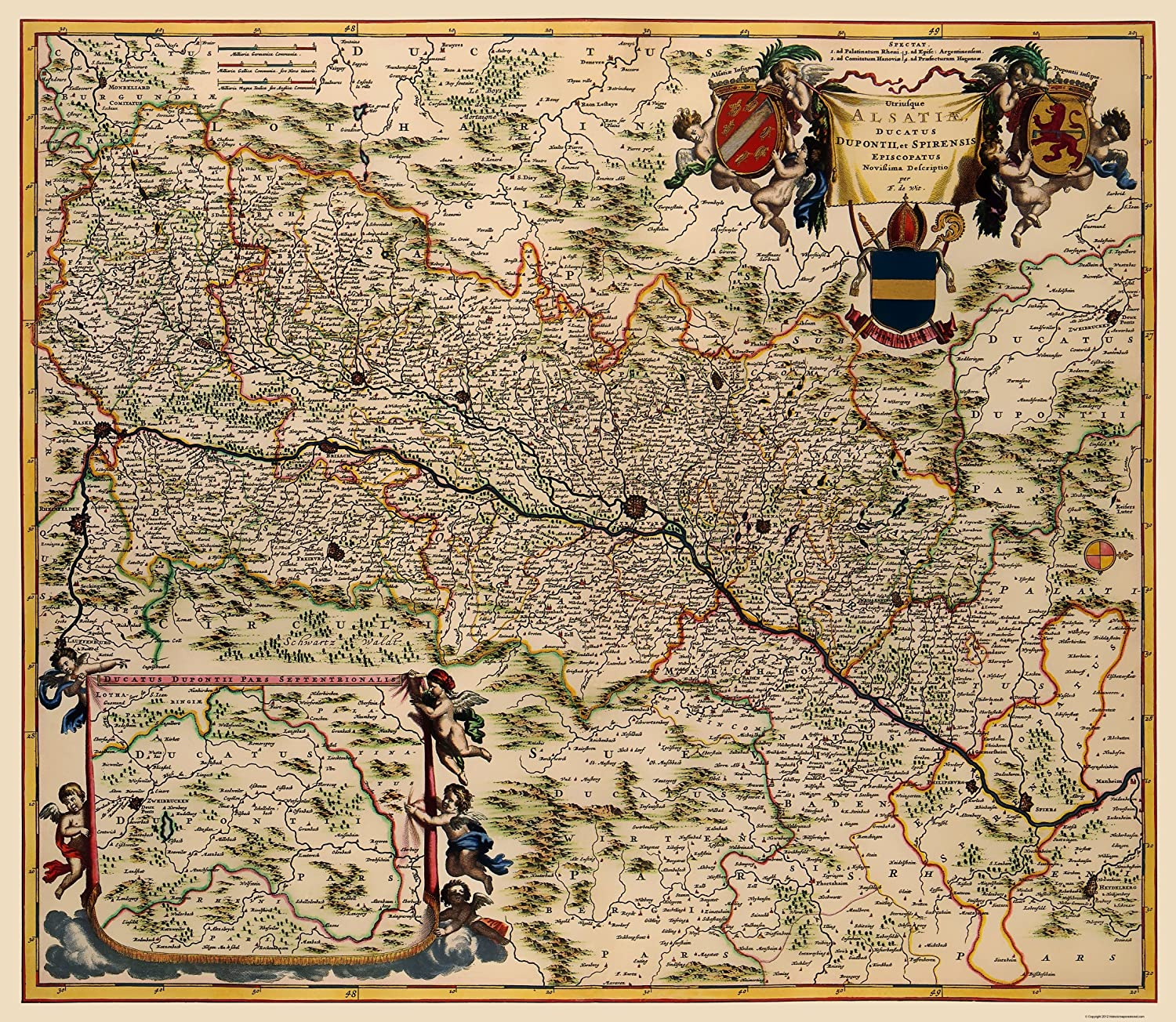 Map Of France 1500.Amazon Com Old France Map Alsace Region De Wit 1688 23 X