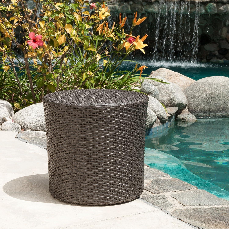 Overton Outdoor Grey Wicker Barrel Side Table