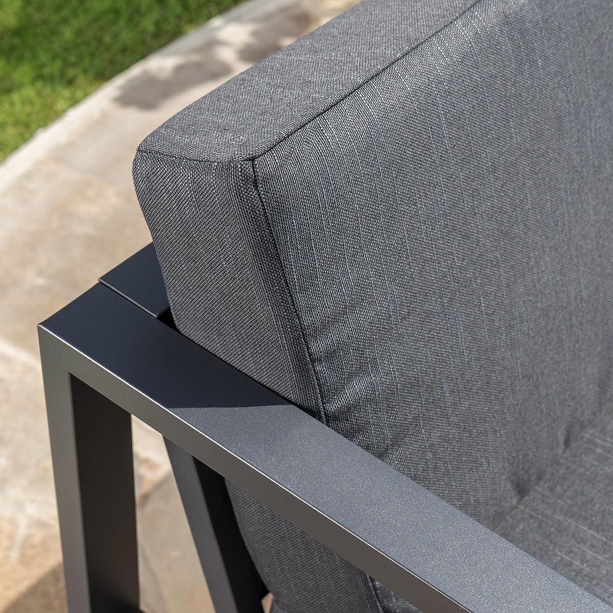 Nealie Patio Furniture ~ 5 Piece Outdoor Aluminum Sofa Set (Dark Grey)