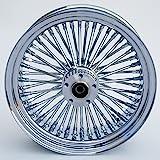 "Chrome Ultima King Spoke 18"" x 3.5"" Rear Wheel for Harley Davidson and Custom Models"
