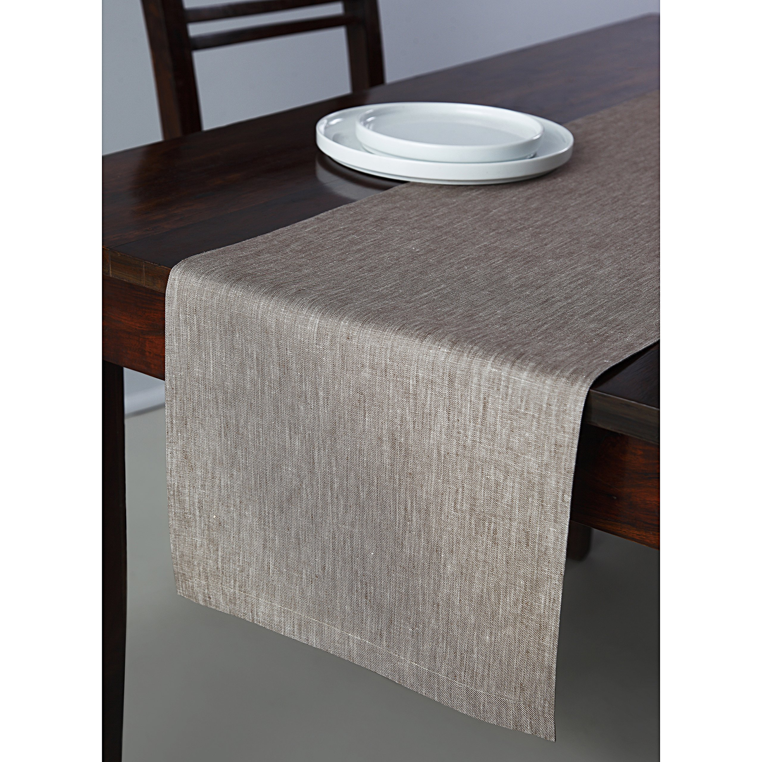 Solino Home 100% Pure Linen Table Runner Tesoro, 14 x 90 Inch Flax, Natural Fabric and Handcrafted
