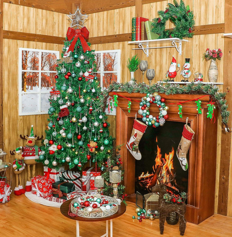 Victor/'s Workshop 60 Pezzi Palline di Natale Palle di Natale Decorazioni Natalizie Rosso/& Verde/& Bianco