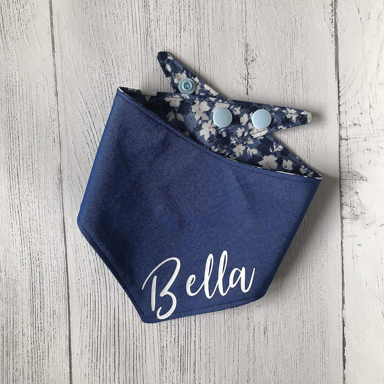 Personalised Reversible Dog Bandana - Blue Floral
