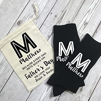 Personalizado Monogram día del padre calcetines y bolsa de regalo