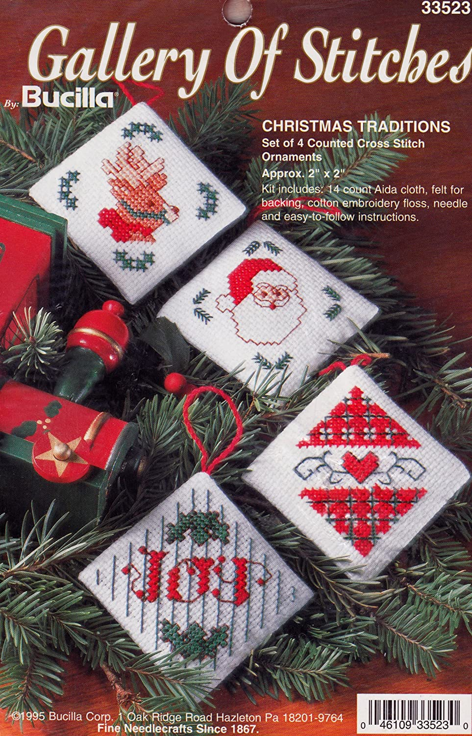 Bucilla Gallery of Stitches Christmas Traditions Cross Stitch Ornament Kit 33523