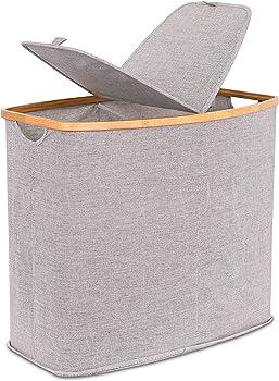 BIRDROCK HOME Canvas Hamper Foldable Double Laundry Basket