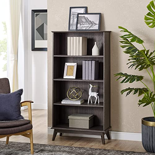 Newport Series Wooden Tall Modern 5 Tier Bookcase Book Shelf Media Storage Organizer Sturdy and Stylish Easy Assembly Smoke Oak Wood Look Accent Living Room Home Office Furniture