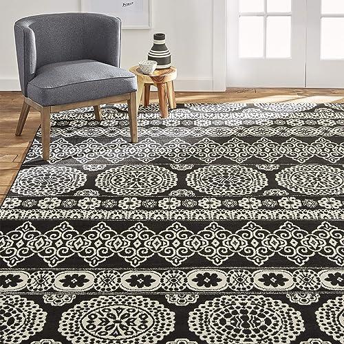 Porta Border Modern Geometric Shag 7×10 6'7'' x 9'10'' Area Rug Brown Beige Plush Easy Care Thick Soft Plush Living Room