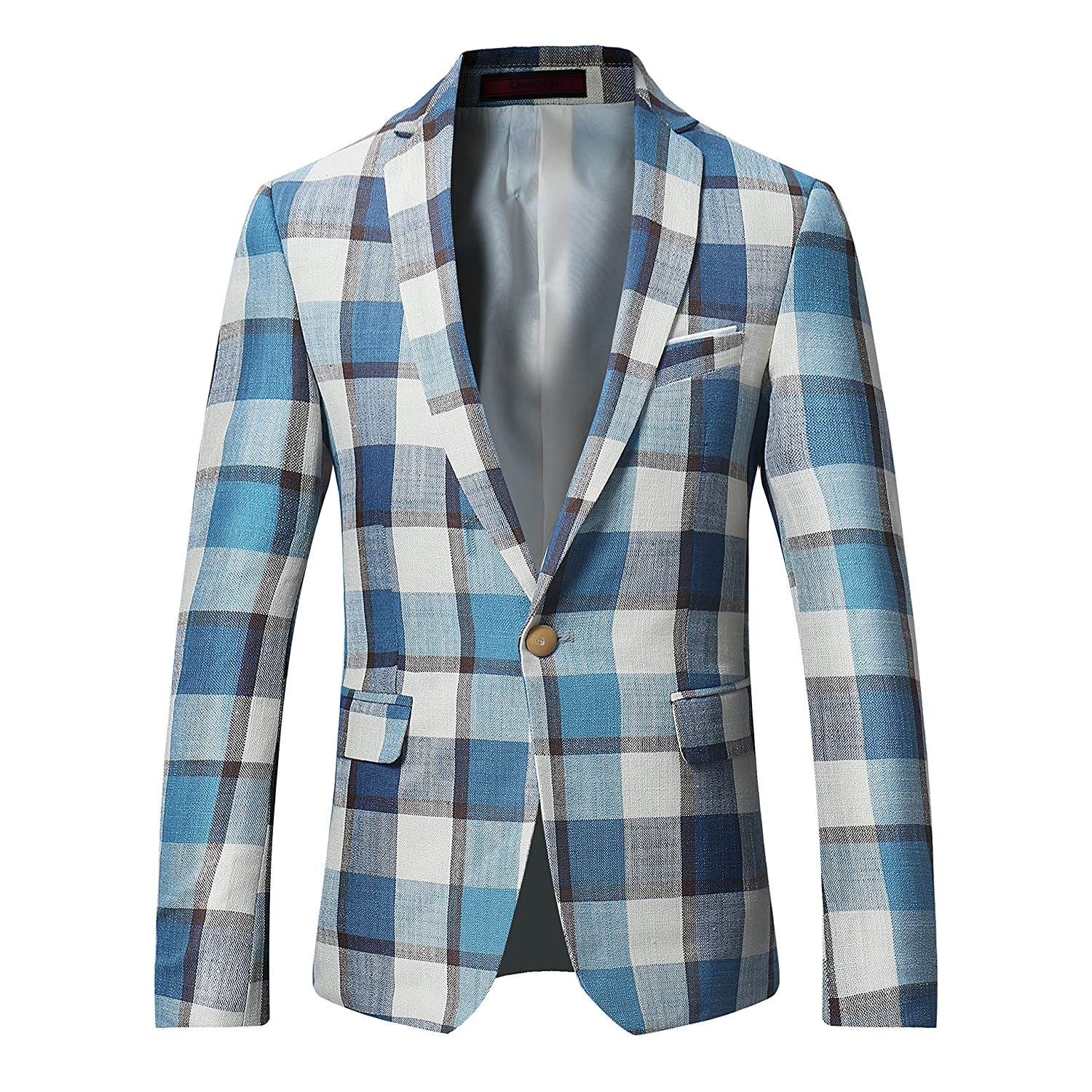 Cloudstyle Men's Dinner Jacket One Button Patterned Party Blazer Plaid Sports Coat HKBlazer3