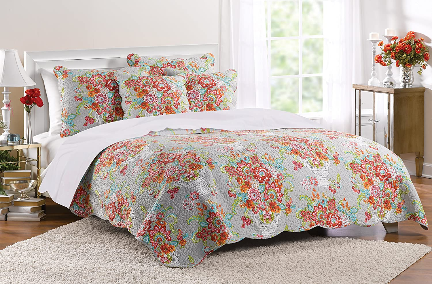 Greenland Home 3 Piece Brandi Quilt Set, Full/Queen, Multicolor