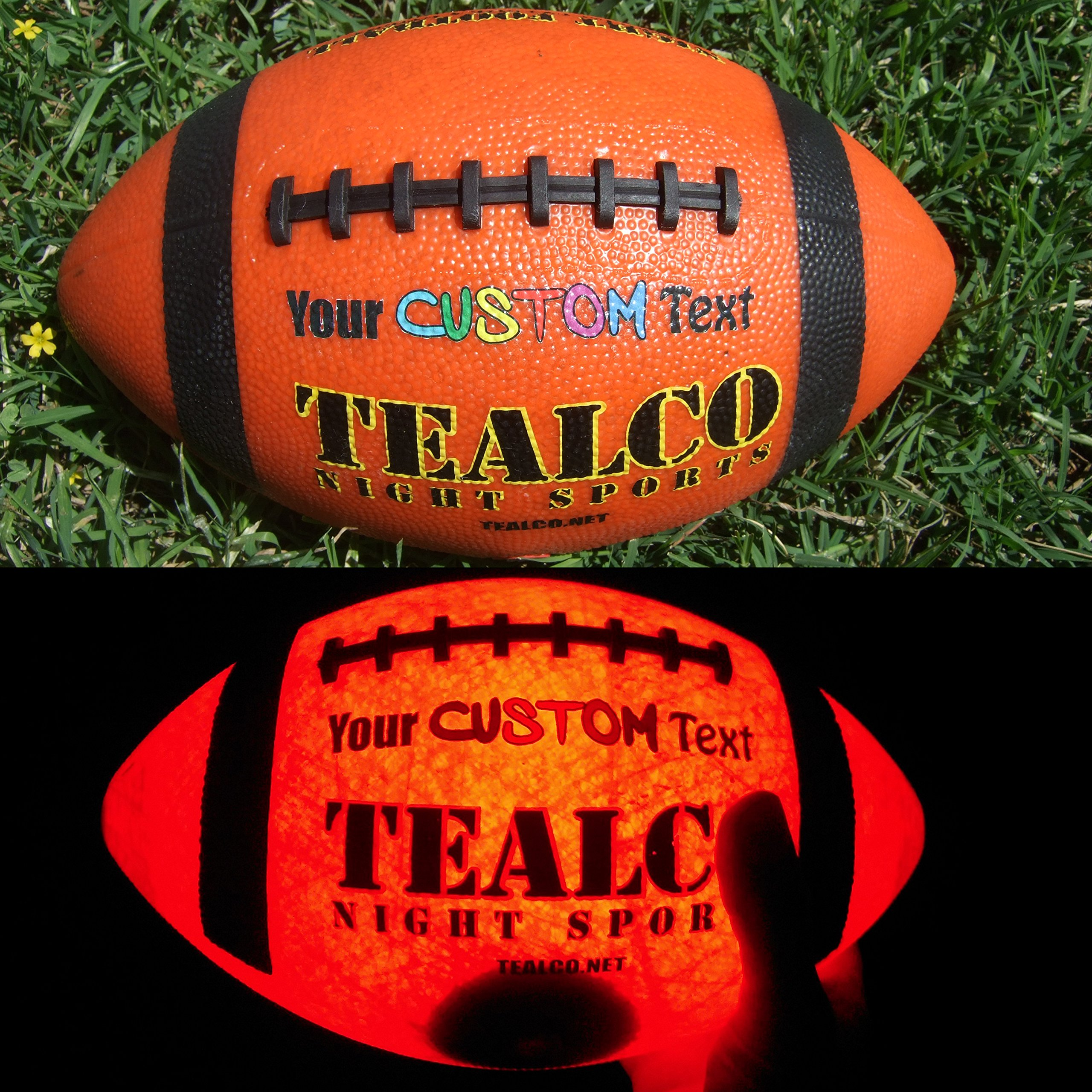 TealCo Night Sports Custom Print Light-Up Youth-Size Football Free Accessories While Supplies Last! (Glow in The Dark)