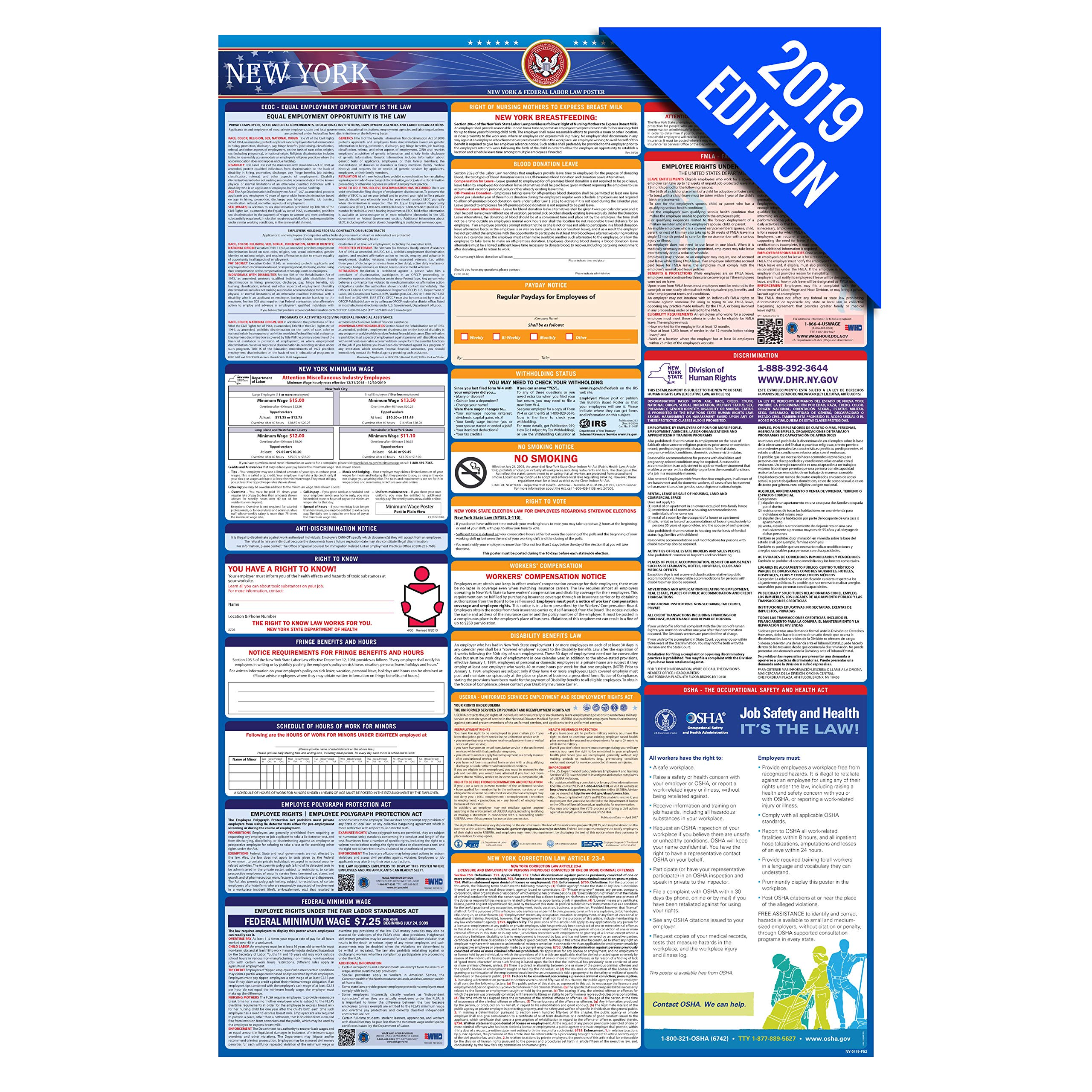 2019 New York Labor Law Poster - State, Federal, OSHA Compliant - Single Laminated Poster by Labor Law Center