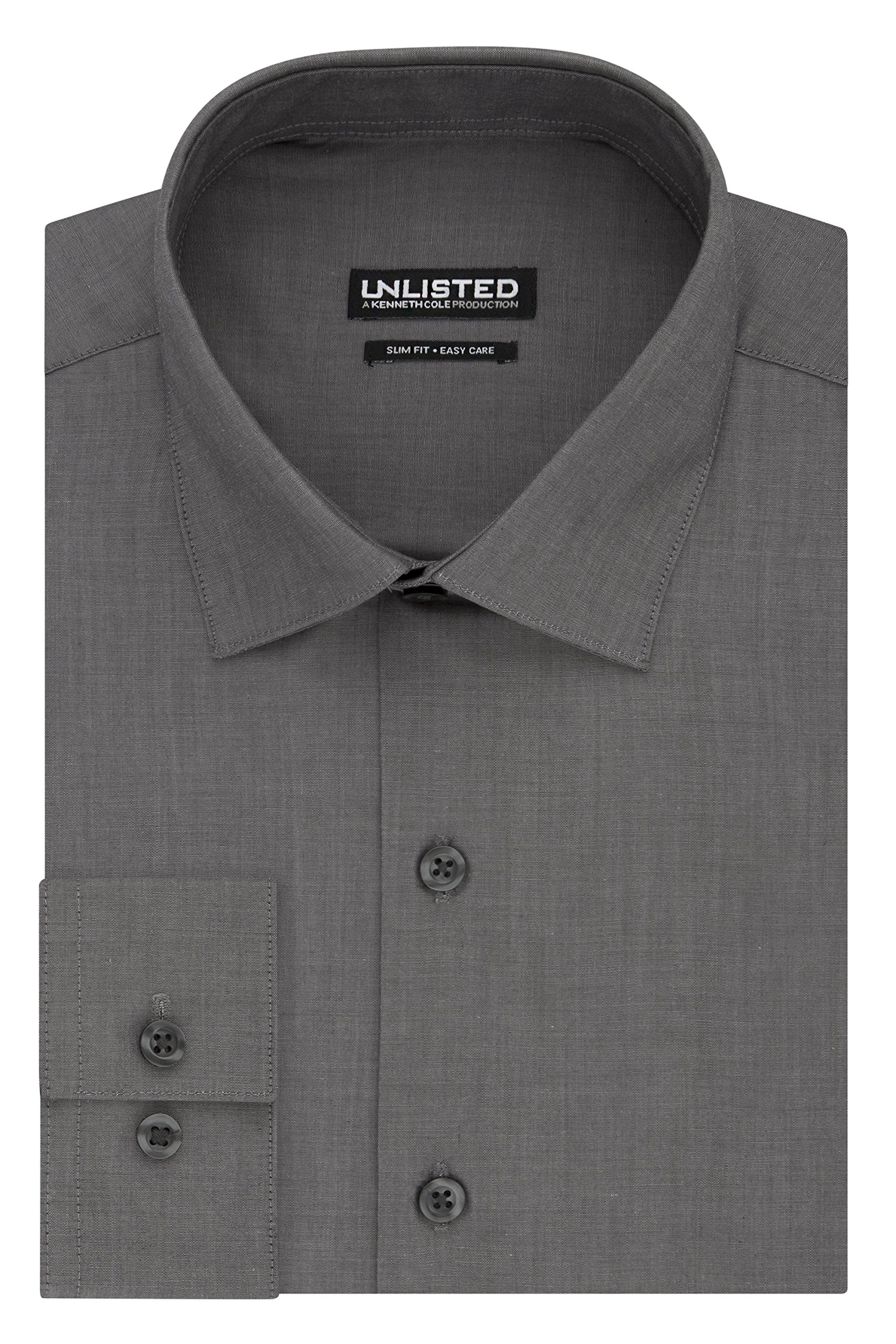 Kenneth Cole REACTION Men's Unlisted Slim Fit Solid Spread Collar Dress Shirt, Graphite, 16''-16.5'' Neck 32''-33'' Sleeve