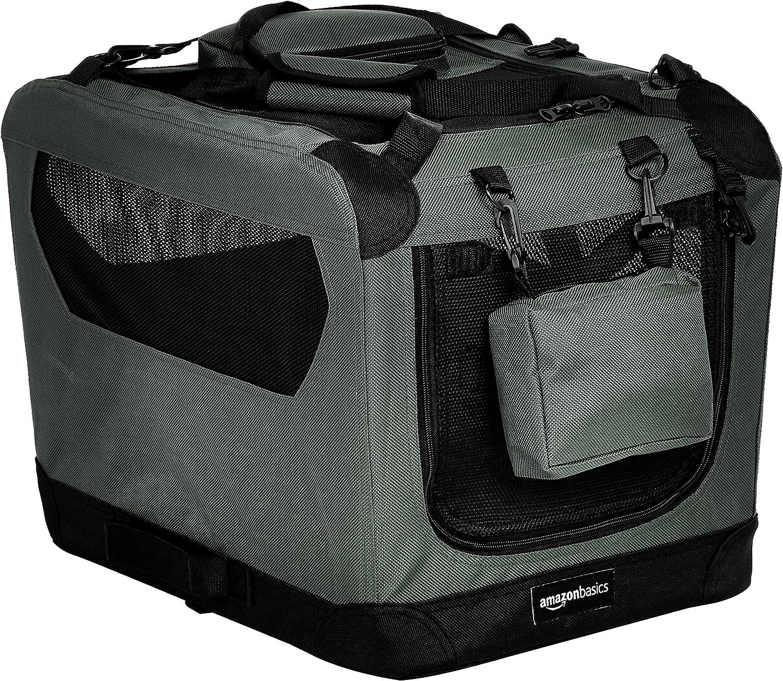 AmazonBasics – Transportín para mascotas abatible, transportable y suave de gran calidad, 53 cm, Gris