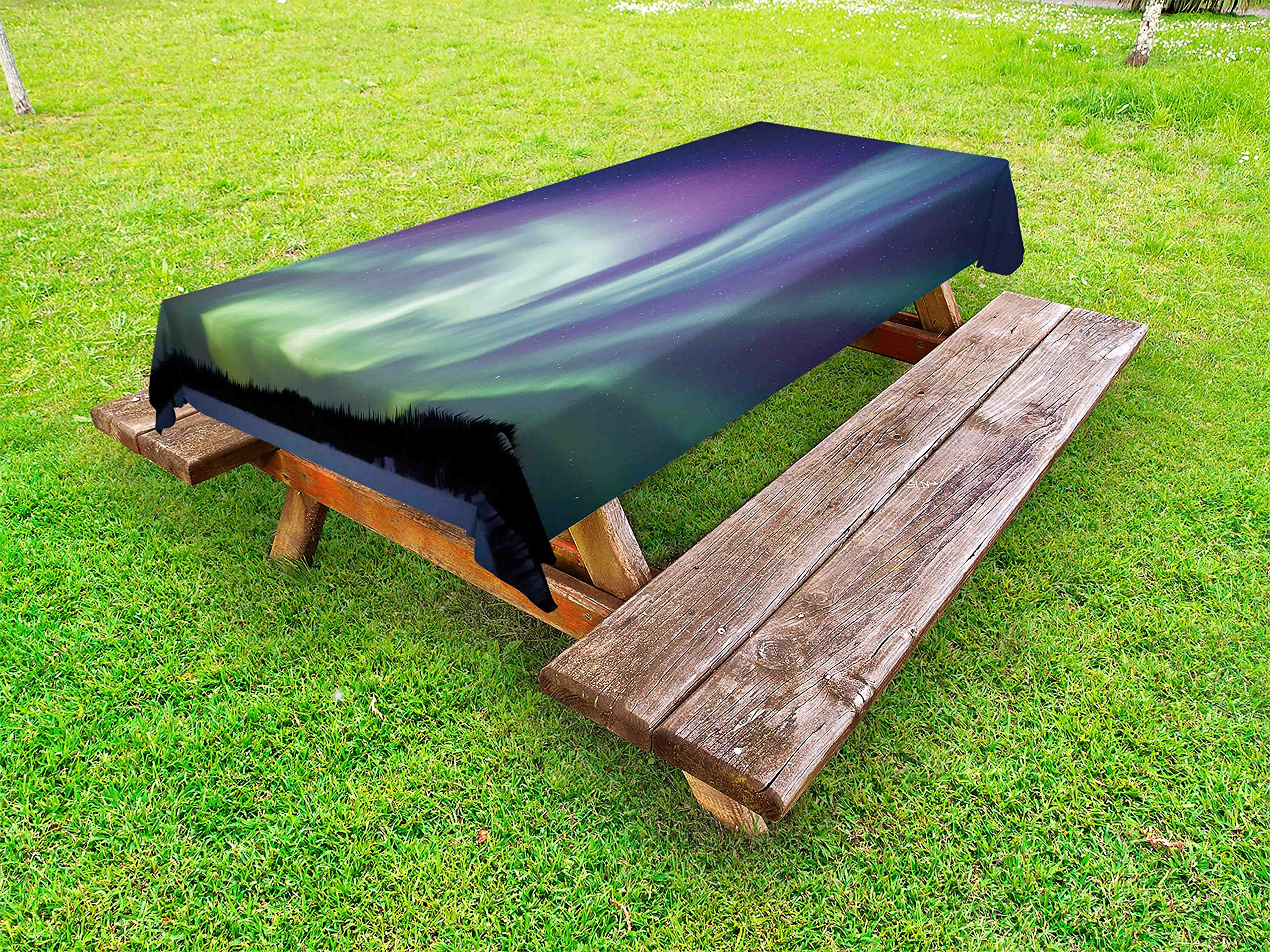 Ambesonne Aurora Borealis Outdoor Tablecloth, Exquisite Atmosphere Solar Starry Sky Calming Night Image, Decorative Washable Picnic Table Cloth, 58 X 104 inches, Mint Green Dark Blue Violet