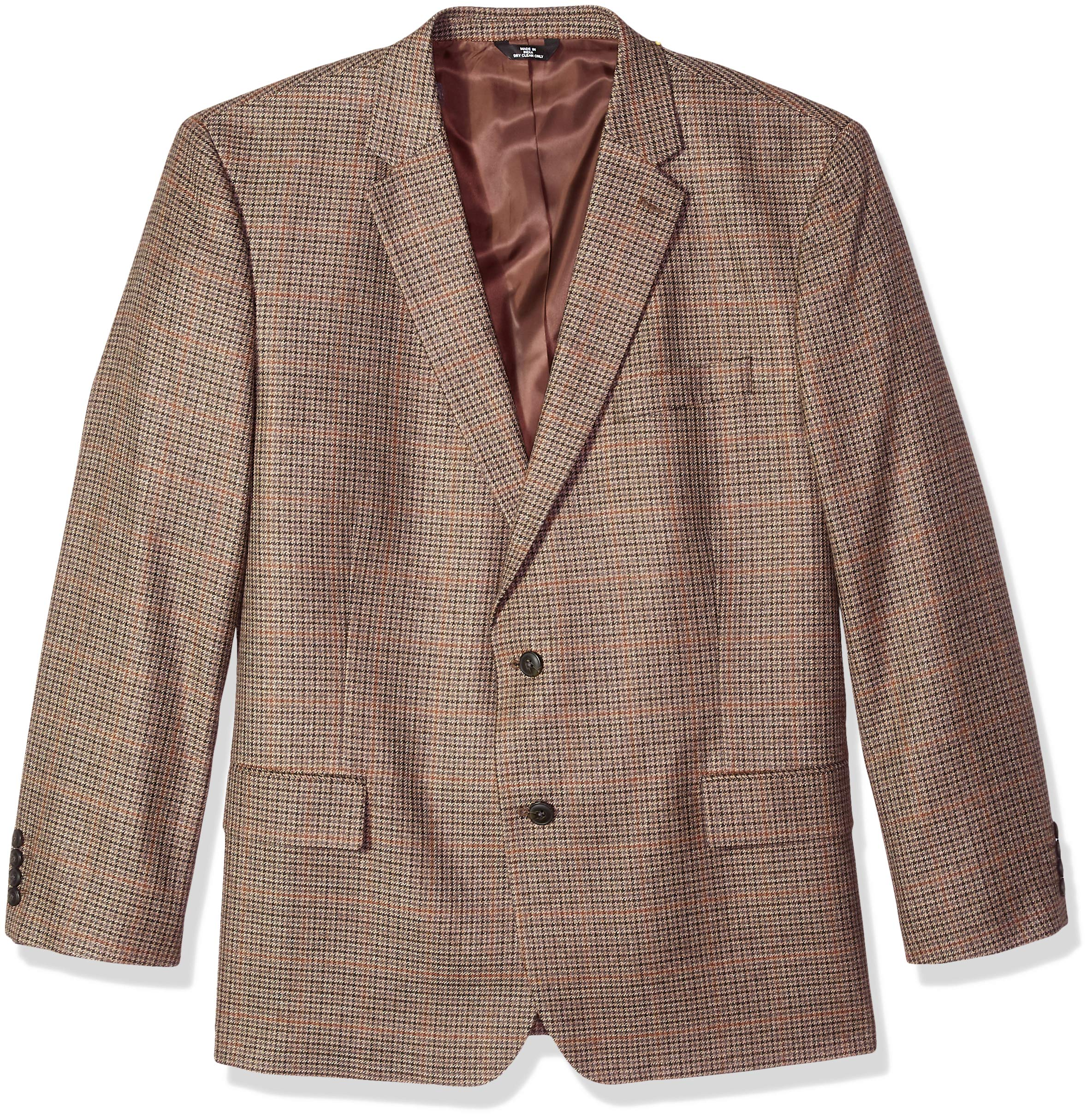 Haggar Men's Big and Tall B&T Houndstooth Plaid Lambswool Classic Fit Sport Coat, Oatmeal 56R