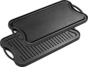 Bruntmor Pre-Seasoned Cast Iron Reversible Grill/Griddle Pan