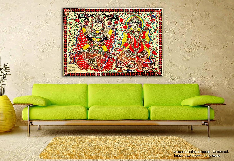 tamatina Madhubani pintura en lienzo lienzo en – Sri Ganesh & Laxmi Religiosa – Pintura en lienzo, tela, multicolor, Medium afe110