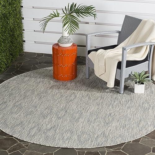 Safavieh Courtyard Collection CY8522-36811 Indoor Outdoor Area Rug, 7 10 Round, Grey Grey