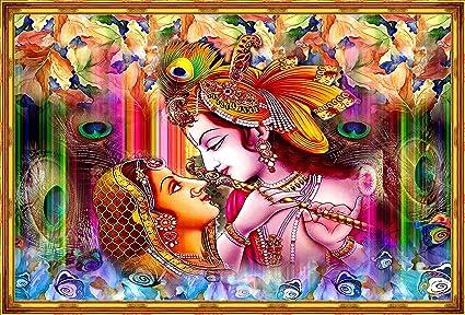 Mode Stoff Hd Digitally Printed Radhe Krishna Unframed Wall Painting