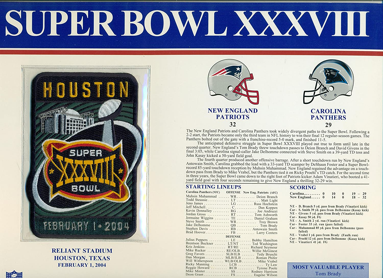 c1a44a95198c4 Super Bowl XXXVIII Official Patch New England Patriots vs Carolina Panthers  at Reliant Stadium