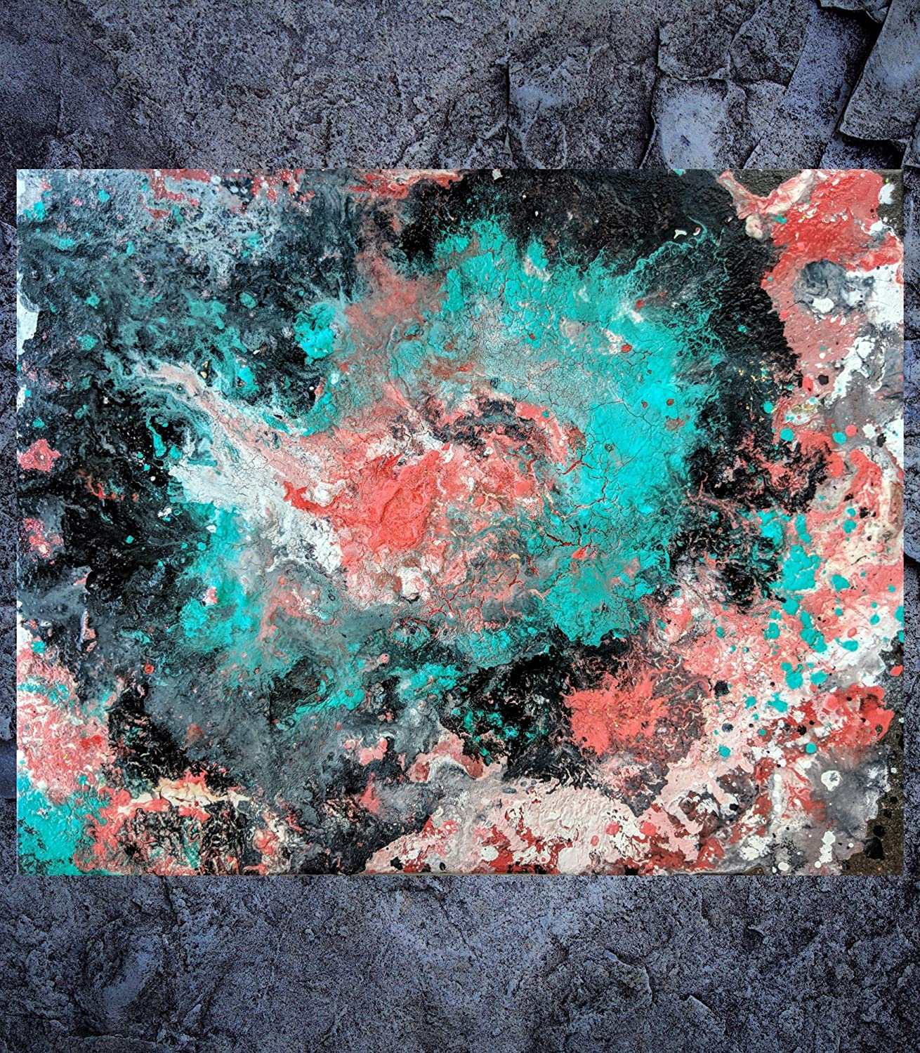Amazon com: Abstract Painting 'Mint Coral Harmony' Fine Art