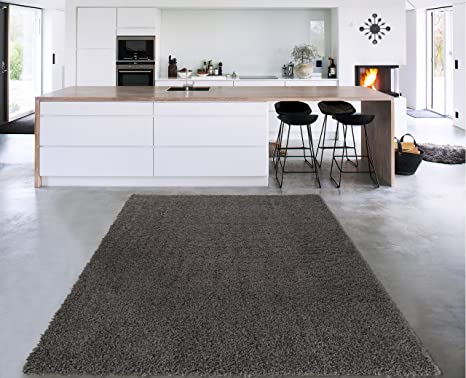 Amazon Com Cozy Shag Collection Charcoal Grey Solid Shag Rug 6 7 X9 3 Contemporary Living And Bedroom Soft Shaggy Area Rug Furniture Decor