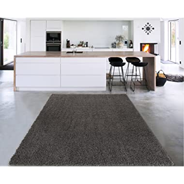 Sweet Home Stores Cozy Shag Collection Solid Contemporary Living and Bedroom Soft Shaggy Area Rug, 84  L x 60  W, Charcoal Grey