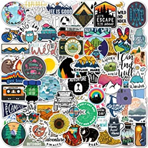 100 Pack Outdoor Stickers I Cute Mountain Waterproof Stickers 100% Vinyl Stickers I Skateboard Stickers, Adventure and Hiking Stickers for Water Bottles, Laptop Stickers (100 Pack, Nature Stickers)
