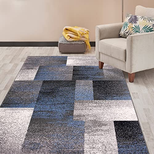 Rugshop Modern Distressed Boxes Area Rug 7 10 x 10 Blue