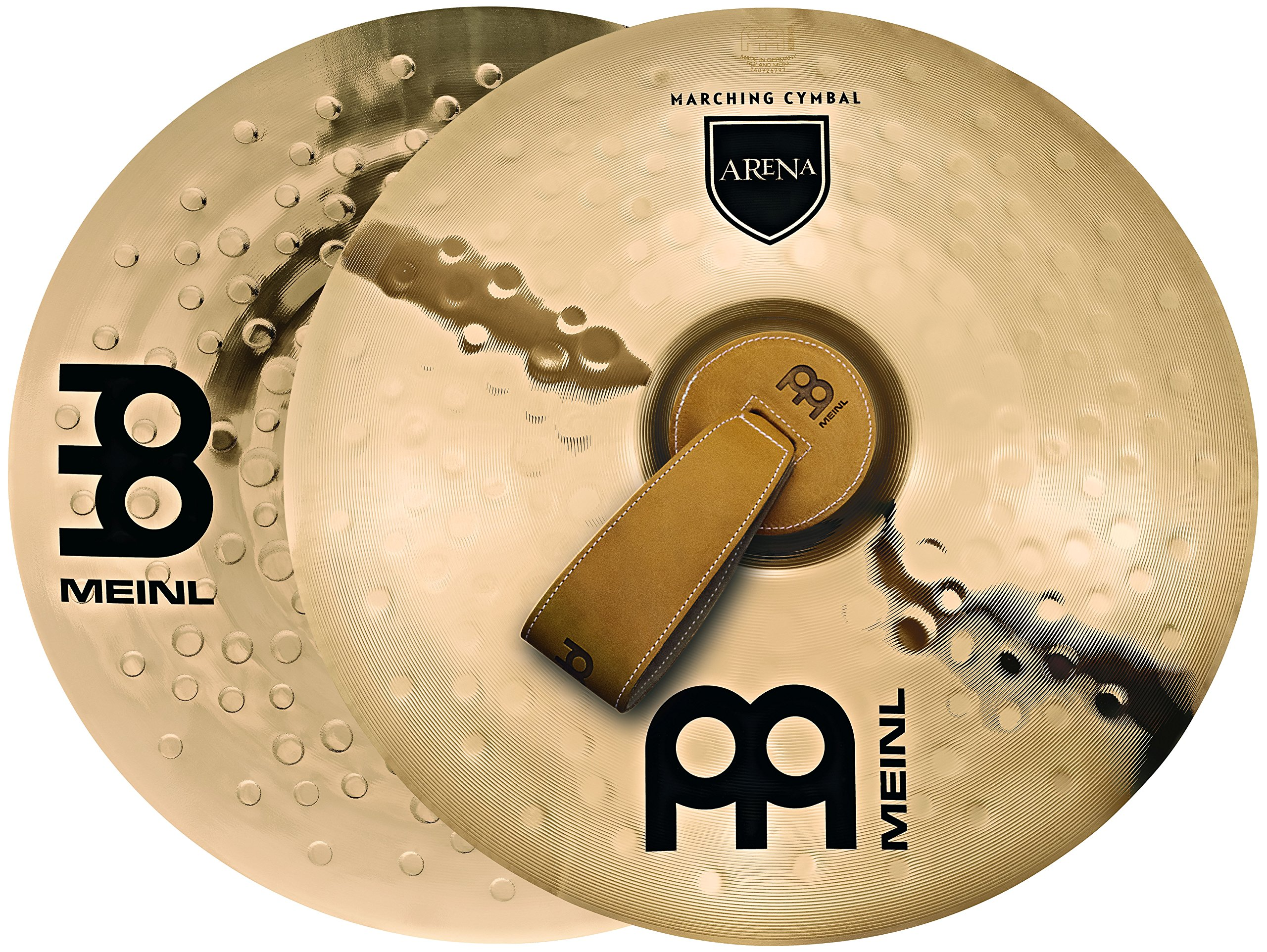 Meinl 16'' Arena Marching Cymbal Pair with Straps - Professional Bronze Alloy Brilliant Finish - Made In Germany, 2-YEAR WARRANTY (MA-AR-16) by Meinl Cymbals