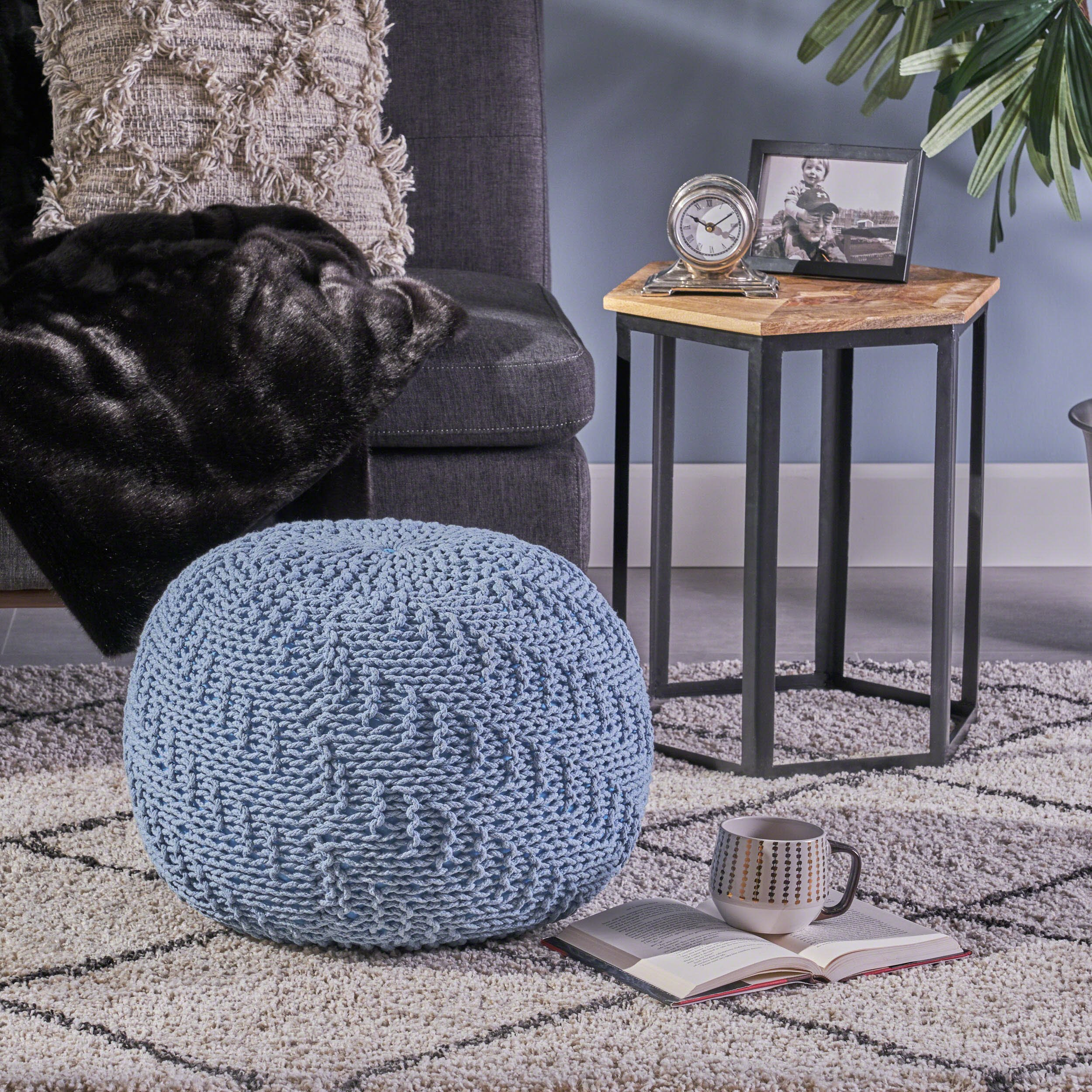 Beryl Knitted Cotton Pouf, Teal