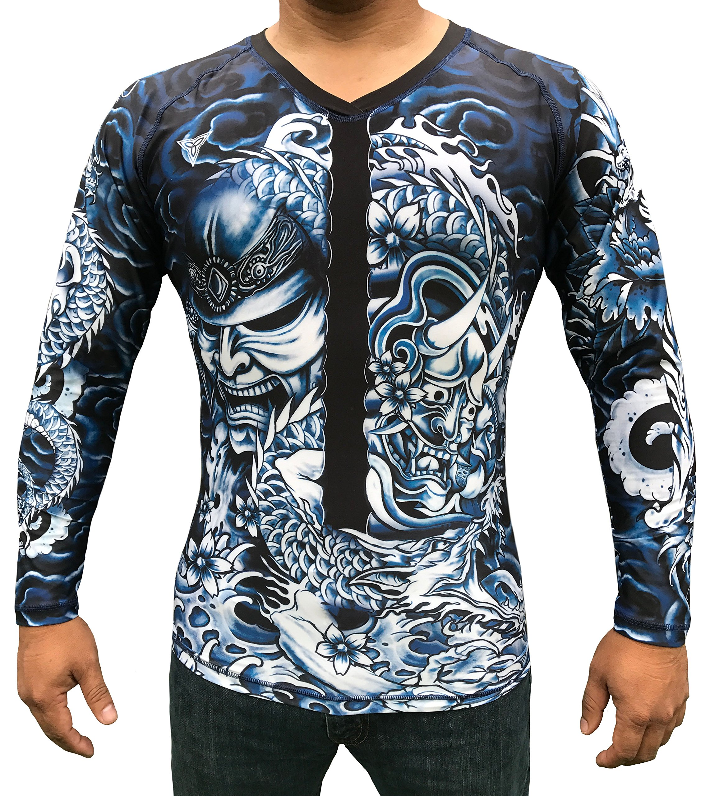 TRI-TITANS Rōnin- Masterless Samurai Long Sleeves Compression Shirt- BJJ Wrestling MMA (Adult S: chest 28''-30'')