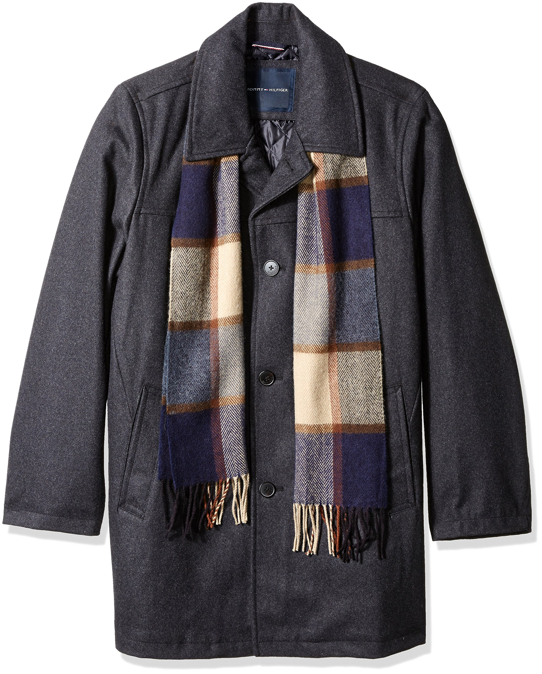 Tommy Hilfiger Men's Size Wool Melton Walking Coat with Detachable Scarf, Charcoal, Long/Tall