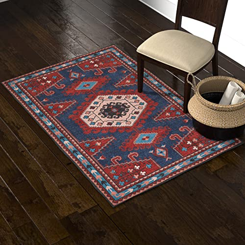 Stone Beam Modern Persian Area Rug, 4 x 6 Foot, Blue and Red Multicolor