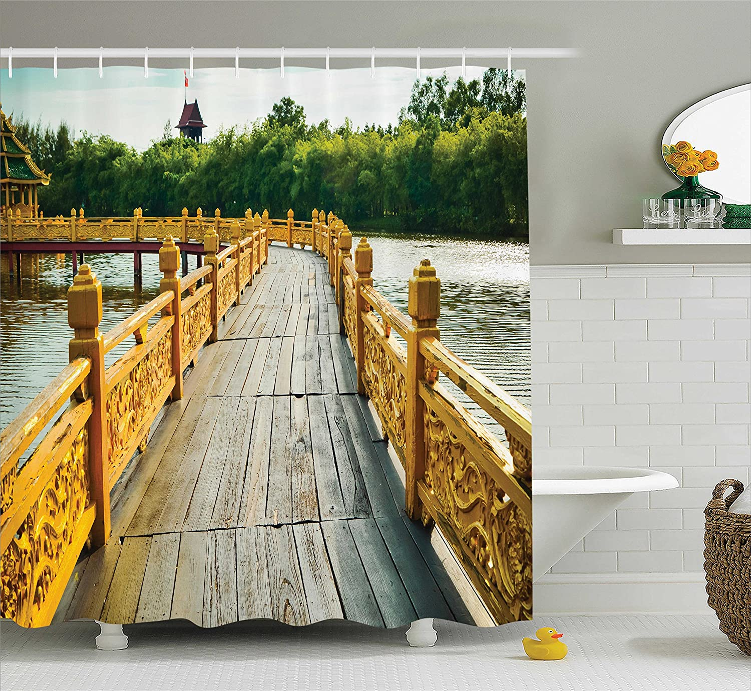 Bathroom Accessories Ambesonne Surf Decor Shower Curtain Set Brown Yellow Surfboard Illustration with Flowers Riding Waves On The Surface of The Water Theme 69W X 70L inches