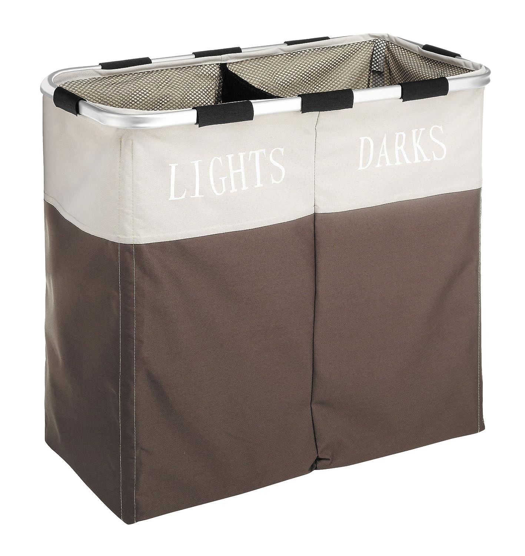 Whitmor Easycare Double Laundry Hamper - Lights and Darks Separator - Java 6205-2466-JAVA