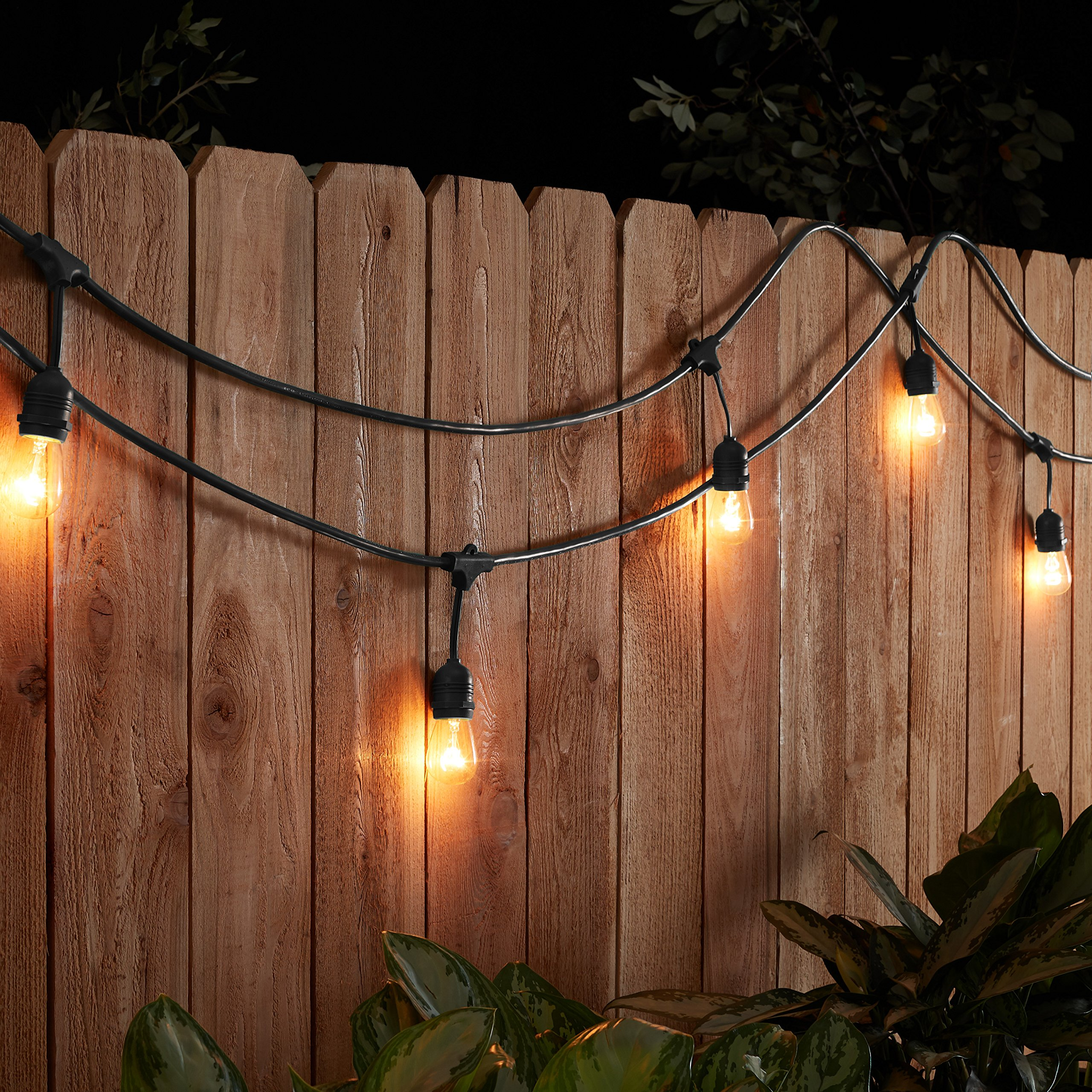 AmazonBasics Weatherproof Outdoor Patio String Lights S14 Bulb, Black, 48-Foot by AmazonBasics (Image #3)