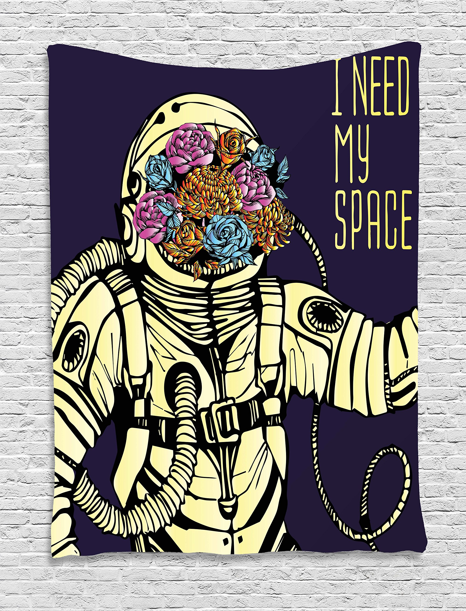 Outer Space Decor Tapestry by Ambesonne, Floral Cosmonaut Man in Spacesuit Solar System Alien Comet Cartoon Image, Wall Hanging for Bedroom Living Room Dorm, 40WX60L Inches, Yellow Blue