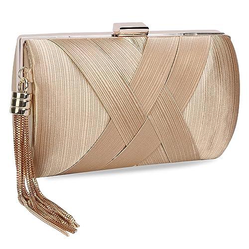c4a450184b1ac UBORSE Women's Noble Tassel Pendant Silk Evening Party Clutch Bags Bridal  Wedding Purse Golden: Amazon.ca: Shoes & Handbags
