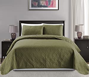 "Mk Collection Full/Queen Size over size 100""x106"" 3 pc Diamond Bedspread Bed-cover Embossed solid Sage Green New"