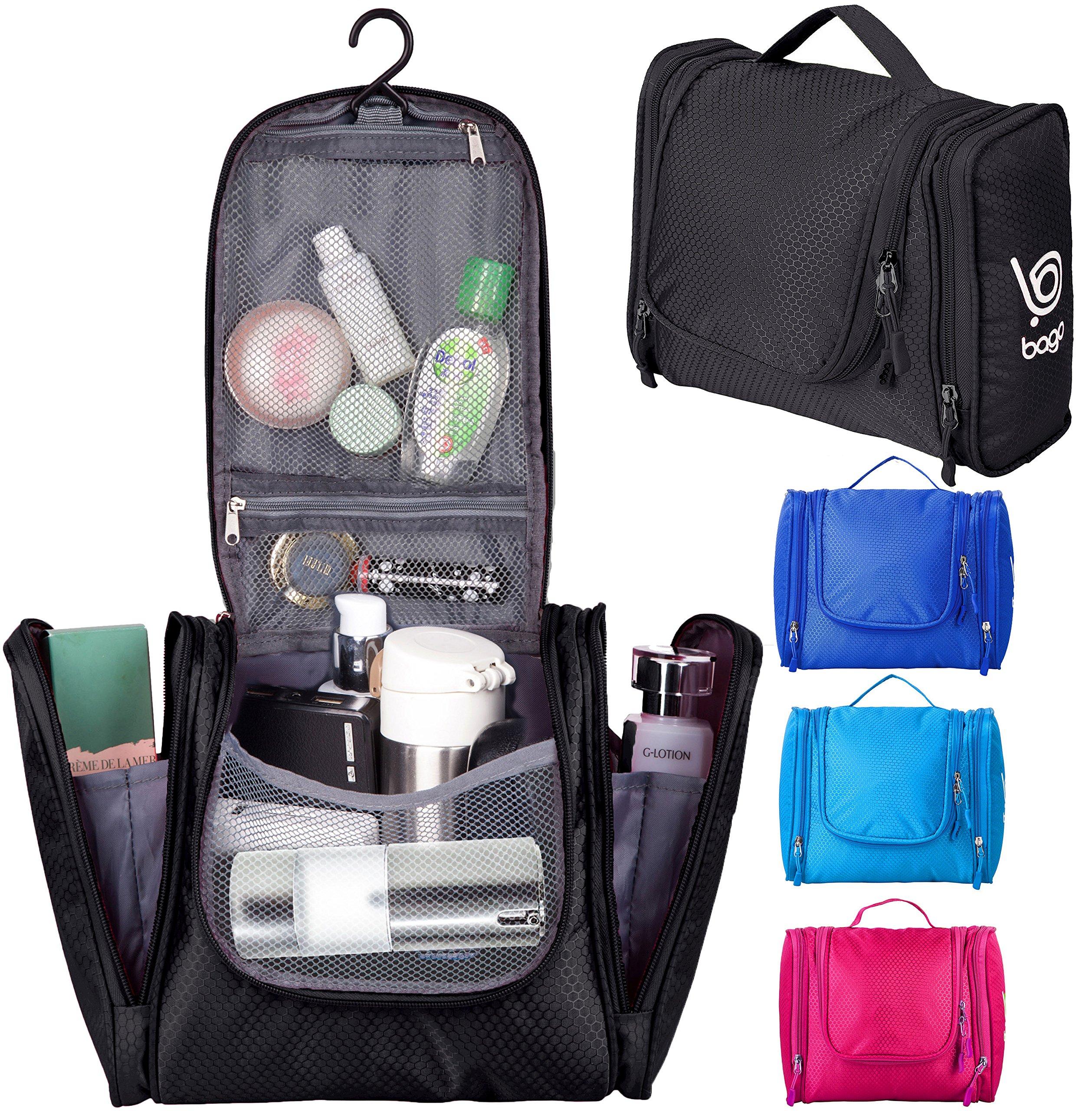 Bago Hanging Toiletry Bag For Men & Women - Toiletries Travel Organizer (Black)