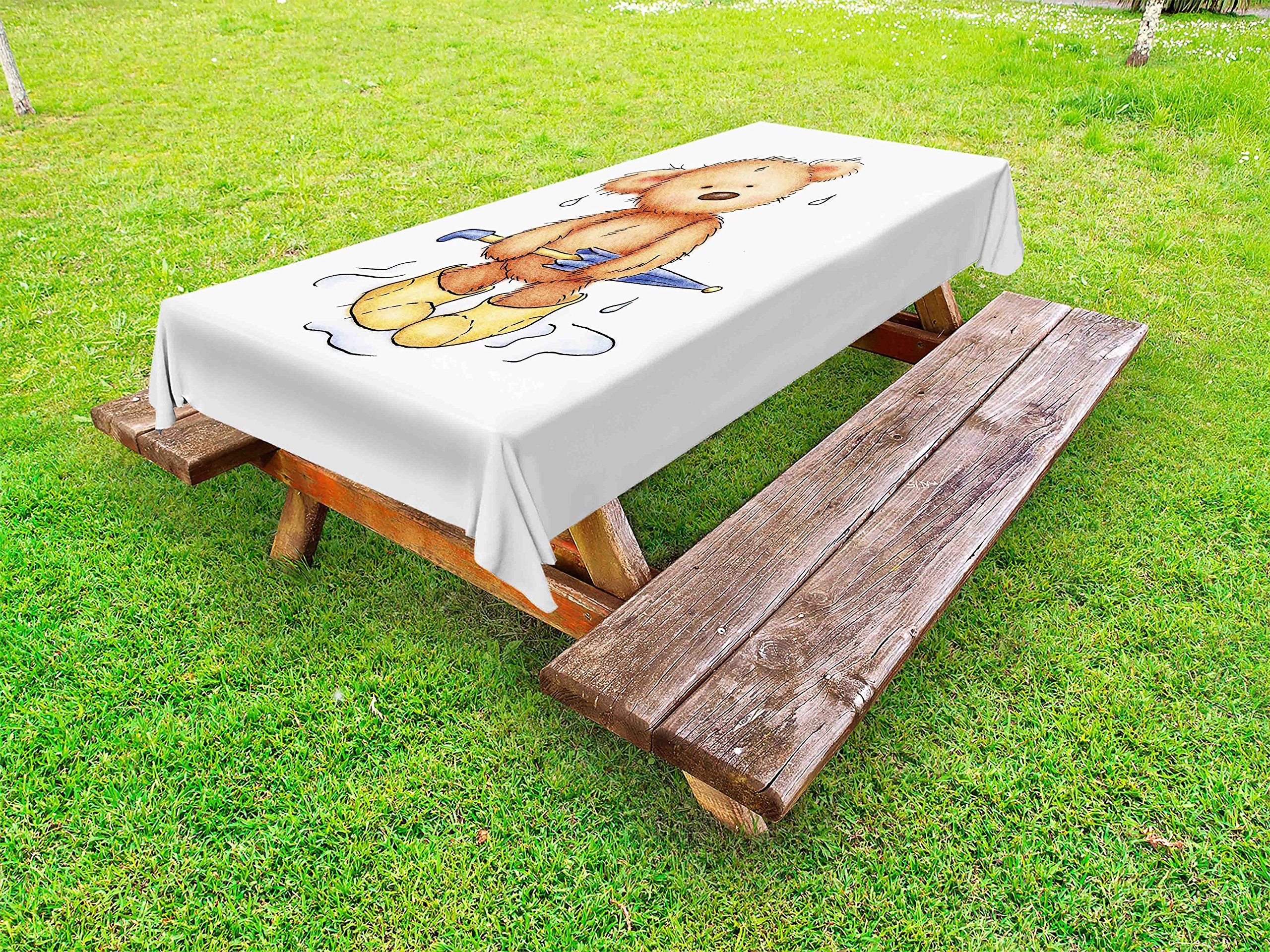 Ambesonne Bear Outdoor Tablecloth, Teddy Bear Caught up in Rain with Rubber Boots Holding an Umbrella Cartoon, Decorative Washable Picnic Table Cloth, 58 X 120 Inches, Sand Brown Yellow Blue