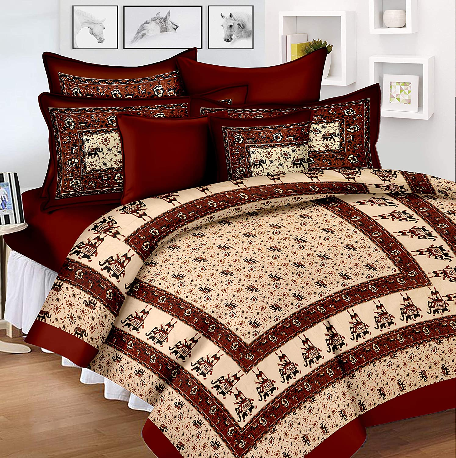 bd3f01a65b Buy Lali Prints Jaipuri Block Print 185 TC Cotton Bedsheet with 2 Pillow  Covers - King Size, Red Online at Low Prices in India - Amazon.in