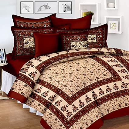 Lali Prints Original Jaipuri Block Print 185 TC Cotton Bedsheet with 2 Pillow Covers - King Size, Red