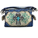 Justin West Floral Embroidery Western Rhinestone Turquoise Cross Studded Fashion Shoulder Concealed Carry Handbag Purse Trifold Wallet Set